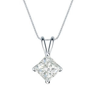 Auriya 14k Gold 3/4ct TDW Princess-Cut Diamond 4-Prong Basket Solitaire Necklace (I-J, SI2-SI3)