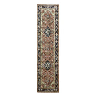 Antiqued Heriz Recreation Black/Brown/Red Wool Hand-knotted Oriental Runner Rug (2'6 x 10')