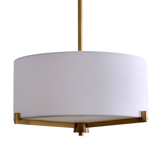 Catalina 19741-001 Plated Brass and Glass 3-light Semi-flush-mounted Ceiling Fixture With White Linen and Fabric Shade