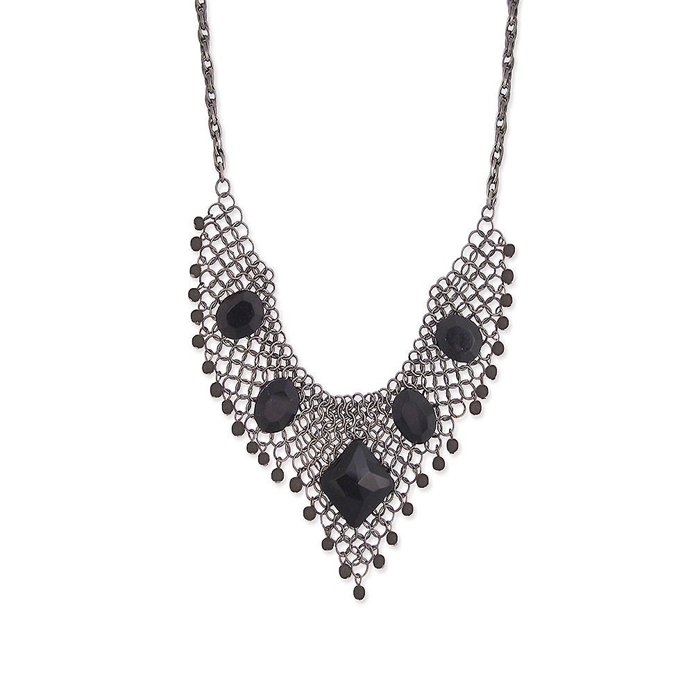 Cascade Brass Black Crystal Stone Bib Necklace, Women's, ...
