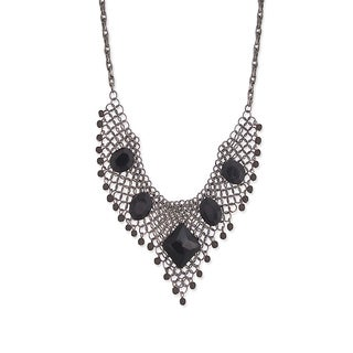 Cascade Brass Black Crystal Stone Bib Necklace