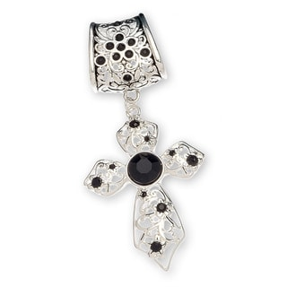 Silver Black Crystals Cross Scarf Pendant Jewelry
