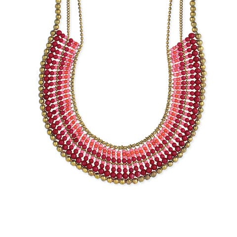 Collar Bib Necklace with Gradual Tonal Beads and Gold Bead Border