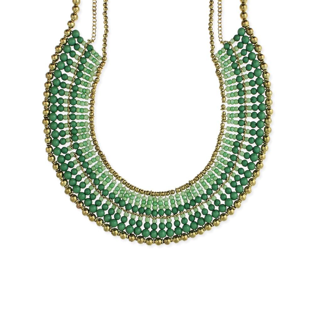 Collar Bib Necklace with Gradual Tonal Beads and Gold Bead Border ...