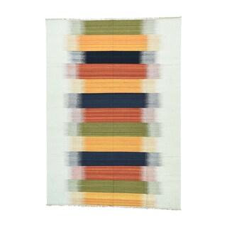 Multicolor Wool Flatweave Reversible Hand-woven Durie Kilim Area Rug (9' x 12'6)