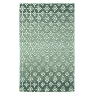 Kevin O'Brien Rossio Grey/ Green Hand-tufted Rectangular Wool Rug (9' x 12'6)