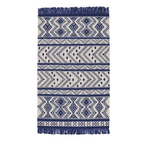Genevieve Gorder Royal Wool Abstract Rectangular Flat-woven Rug (8' x 11') - 8' x 11'