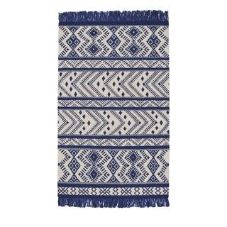 Genevieve Gorder Royal Wool Abstract Rectangular Flat-woven Rug (8' x 11')