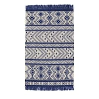 Genevieve Gorder Royal Wool Abstract Rectangular Flat-woven Rug (8' x 11') - 8' x 11'