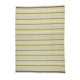 1800getarug Handwoven Striped Flatweave Ivory Wool Dhurrie Kilim Carpet (9' x 11'10)