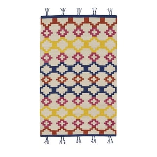 Genevieve Gorder Red Wool Rectangular Flat-woven Hyland Area Rug (8' x 11') - 8' x 11'