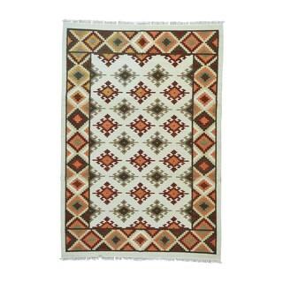 1800getarug Anatolian Kilim Ivory/ Red/ Orange/ Beige/ Grey/ Light Brown Hand-woven Flatweave Oriental Wool Rug (6'2 x 9')