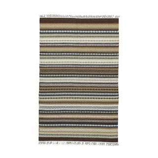 1800getarug Handwoven Striped Durie Kilim Flatweave Multicolor Wool Oriental Rug (4' x 6')