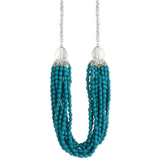 Silvertone Brass and Turquoise Resin Bead Multistrand Hammered Teardrop Necklace With 3-inch Extension