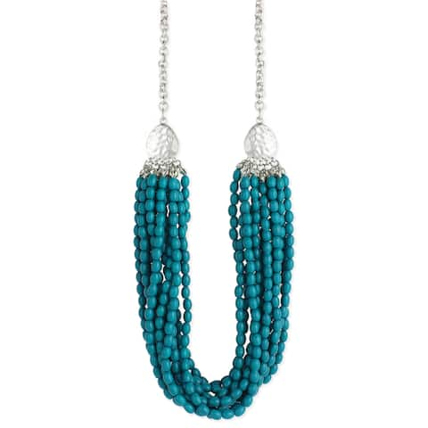 Silver and Turquoise Bead Multistrand Hammered Teardrop Necklace with 3-inch Extension