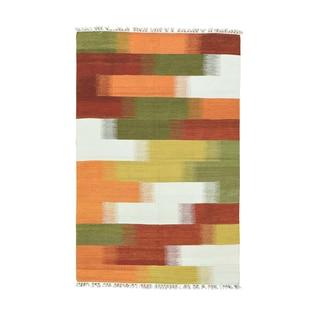 1800getarug Durie Kilim Hand-woven Flatweave Colorful Wool Rug (4' x 6'2)