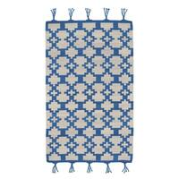 Genevieve Gorder Hyland Blue/Off-White Flat-woven Wool Rectangular Rug (8' x 11') - 8' x 11'