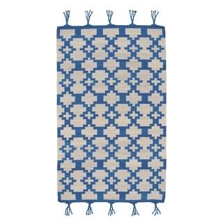 Genevieve Gorder Hyland Blue/Off-White Flat-woven Wool Rectangular Rug (8' x 11') - 8' x 11'