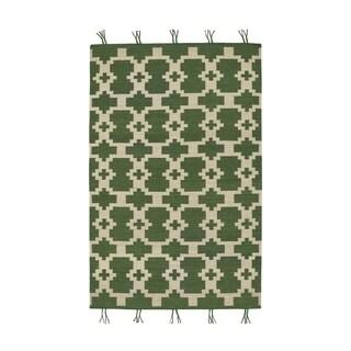 Genevieve Gorder Green Wool Rectangular Flatwoven Hyland Rug (8' x 11') - 8' x 11'