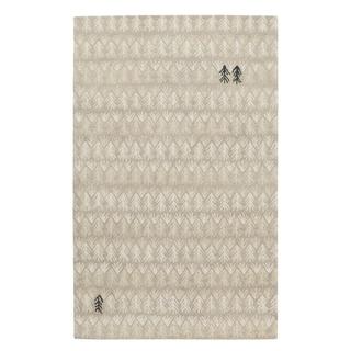 Genevieve Gorder Beige/Off-White Wool/Viscose Rectangular Hand-tufted Twigs Area Rug (8' x 10')