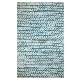 Genevieve Gorder Spear Beige/Blue Wool and Viscose Hand-tufted Rug (8' x 10')