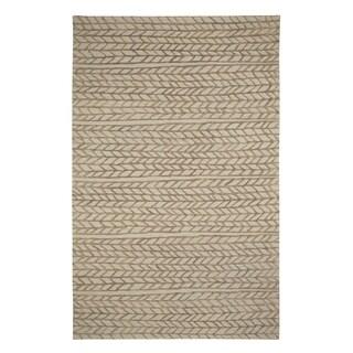 Genevieve Gorder Beige/Chestnut Wool/Viscose Spear-design Hand-tufted Rectangular Rug (8' x 10')