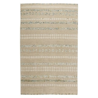 Genevieve Gorder Scandinavian Stripe Ivory/Off-white Wool, Viscose, and Cotton Hand-knotted Rug (8' x 10')