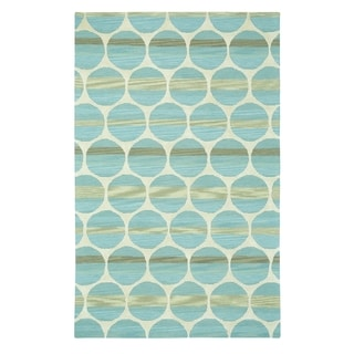 Kevin O'Brien Bucine Blue and Light Beige Hand-tufted Rectangle Rug (8' x 11')