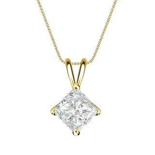Auriya 14k Gold 1ct TDW Princess-Cut Diamond 4-Prong Basket Solitaire Necklace (I-J, SI2-SI3)