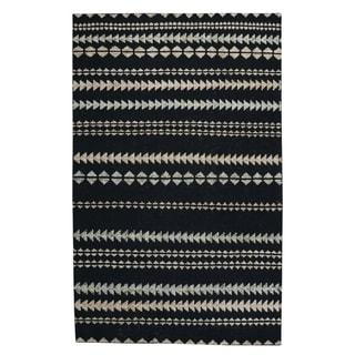 Genevieve Gorder Ebony/Beige Wool Scandinavian Stripe Rectangular Hand-knotted Rug - 8' x 10'