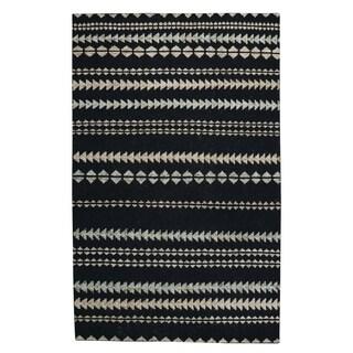 Genevieve Gorder Ebony/Beige Wool Scandinavian Stripe Rectangular Hand-knotted Rug (8' x 10')
