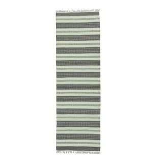 1800GetaRug Hand-woven Striped Durie Kilim Multicolor Wool Flat-weave Runner Rug (2'5 x 7'9)