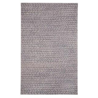 Genevieve Gorder Violet/Grey Wool/Viscose Spear-design Rectangular Hand-tufted Rug (8' x 10')