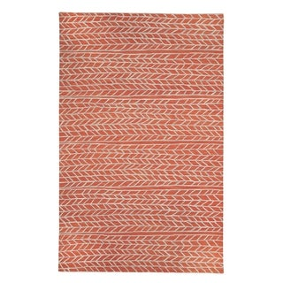 Genevieve Gorder Spear Sunny Beige/Orange Wool and Viscose Hand-tufted Rectangle Area Rug (8' x 10')