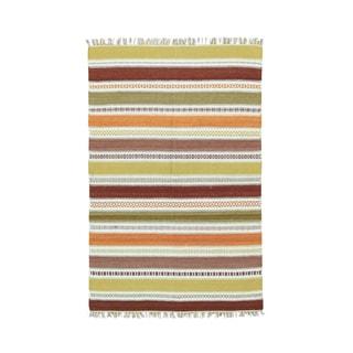1800getarug Kilim Oriental Wool Flatweave Hand-woven Reversible Striped Rug (4' x 6')