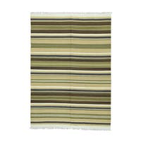 Shahbanu Rugs Kilim Wool Flatweave Handwoven Reversible Striped Rug (5'6 x7'9)