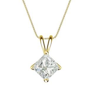 Auriya 14k Gold 1ct TDW Princess-Cut Diamond 4-Prong Basket Solitaire Necklace (J-K, I1-I2)