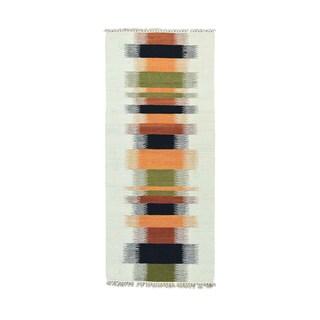 1800getarug Grey Handwoven Flatweave Kilim Wool Runner Rug (2'7 x 6')