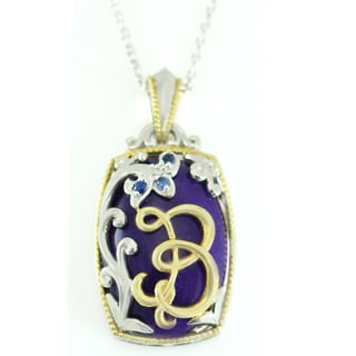 One-of-a-kind Michael Valitutti Purple Jade and Blue Sapphire Letter 'B' Pendant