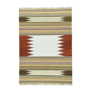 Durie Kilim Multicolored Hand-woven Flatweave Carpet (6' x 9')