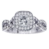 14k White Gold 2 1/10ct TDW Princess-cut Diamond Engagement Ring
