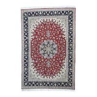 Hand-Knotted Persian Tabriz Wool and Silk Oriental Rug (6'6 x 10')