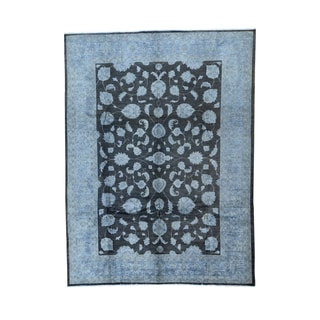Peshawar Oriental Black Hand-knotted Overdyed Rug (9'x12')