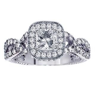 Platinum 2 1/10ct TDW Princess-cut Diamond Engagement Ring