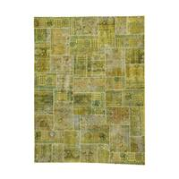 Persian Overdyed Gold Wool Hand-knotted Patchwork Oriental Area Rug (9' x 11'10)