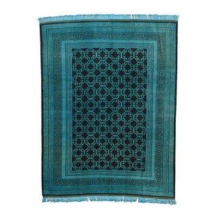 1800getarug Hand-knotted Khotan Overdyed Persian Teal Oriental Wool Rug (8'6 x 11')
