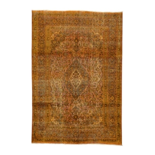 1800getarug Handmade Kashan Overdyed Orange/ Chocolate Brown/ Forest Green Persian Oriental Wool Rug (6'4 x 9'3)