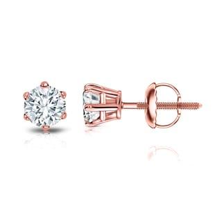 Auriya 14k Gold 3/4ct TDW 6-Prong Screw-Back Round Diamond Stud Earrings