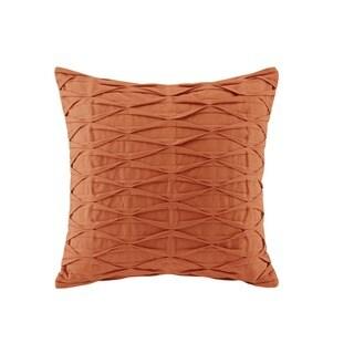 N Natori Nara Orange Cotton Canvas with Pintuck Square Throw Pillow
