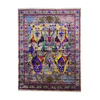Pure Silk Antiqued Bidjar Garius Design Hand-knotted Area Rug (7'8 x 10')